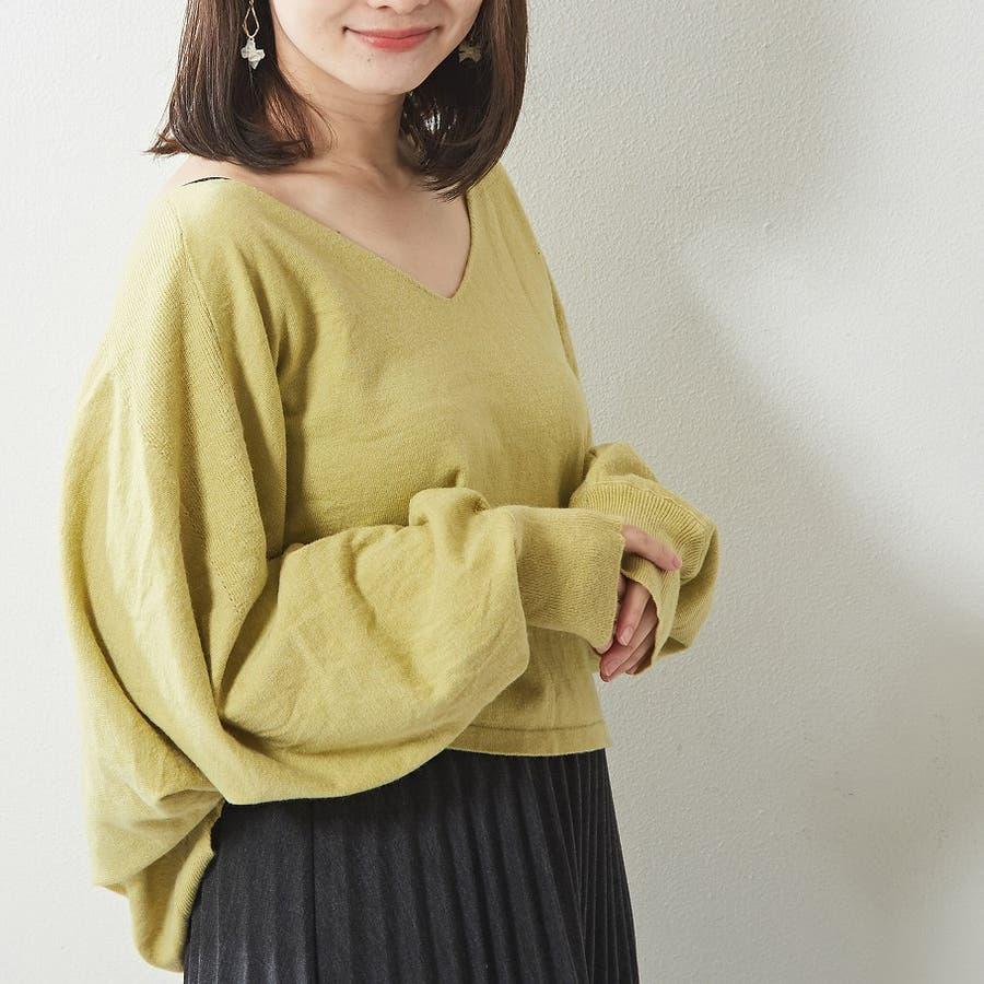 ゆったり袖がおしゃれ可愛い 切替入りデザインニット Vネック プルオーバー 韓国 韓国ファッション 秋 秋冬 8