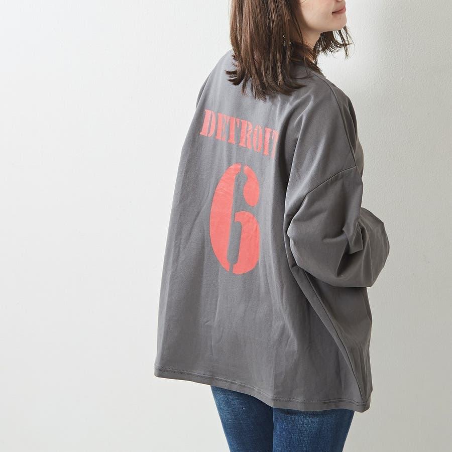 レギンス合わせでジム通いにも使える バックプリント ロンT 大きいサイズ 韓国ファッション 韓国 秋 秋冬 3