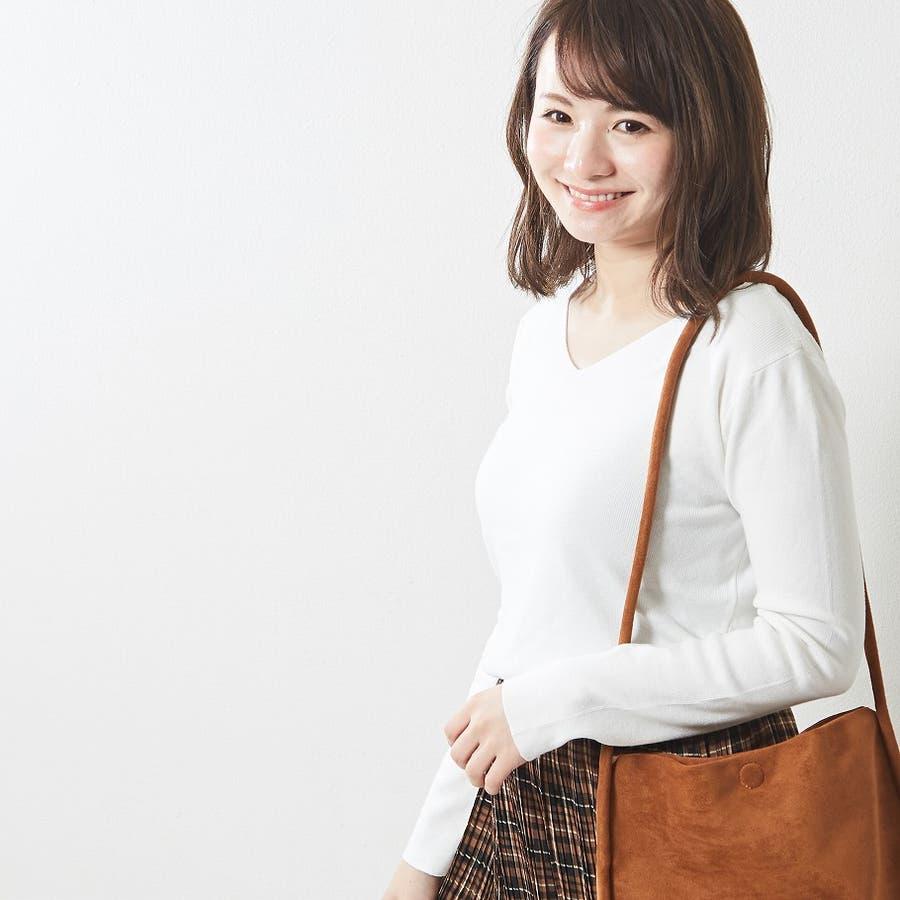 肌触り良く オンオフ使える大人のハイゲージシンプルニット Vネック 韓国 韓国ファッション 秋 秋冬 1