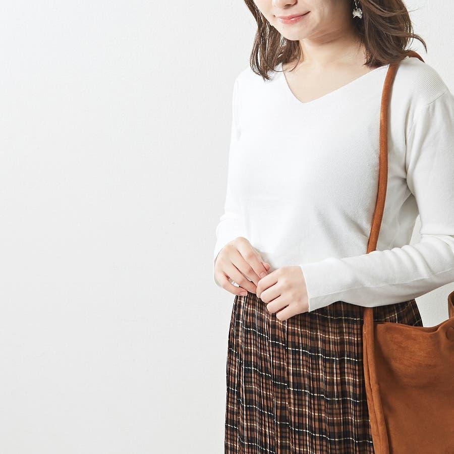 肌触り良く オンオフ使える大人のハイゲージシンプルニット Vネック 韓国 韓国ファッション 秋 秋冬 16
