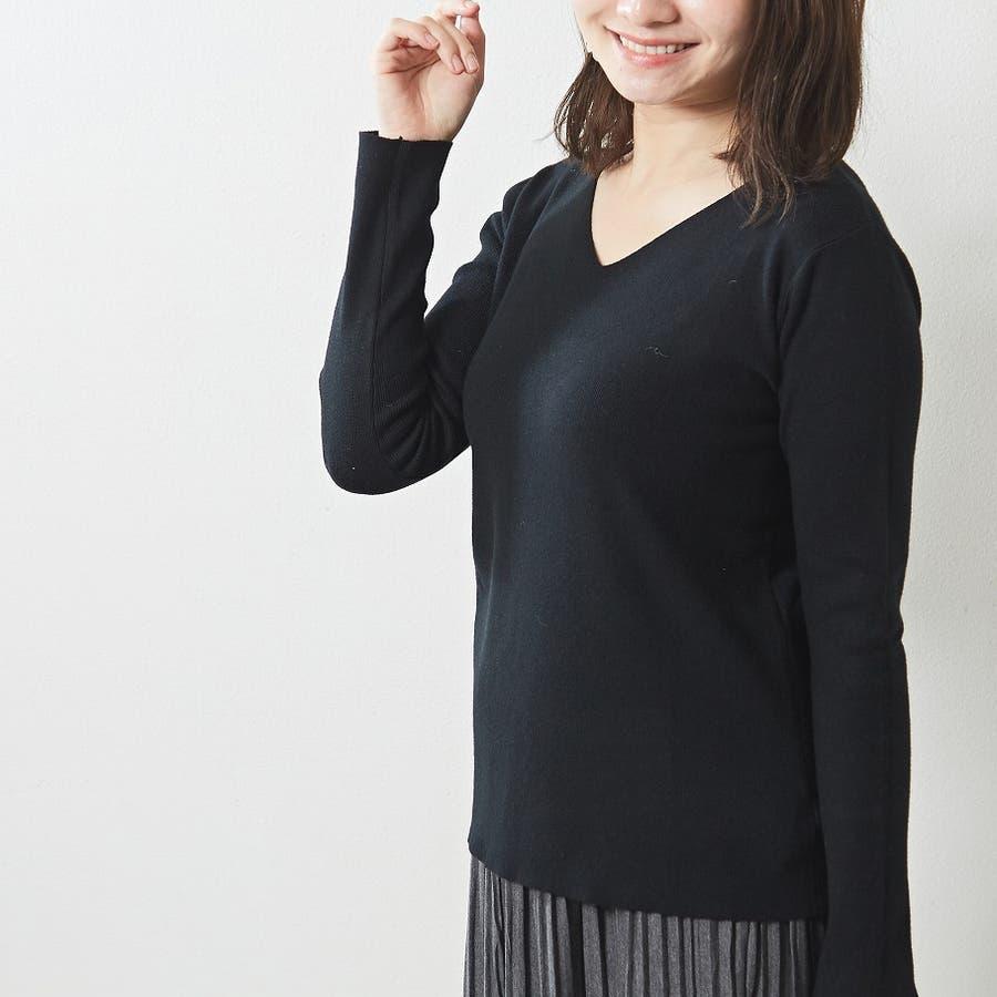 肌触り良く オンオフ使える大人のハイゲージシンプルニット Vネック 韓国 韓国ファッション 秋 秋冬 3