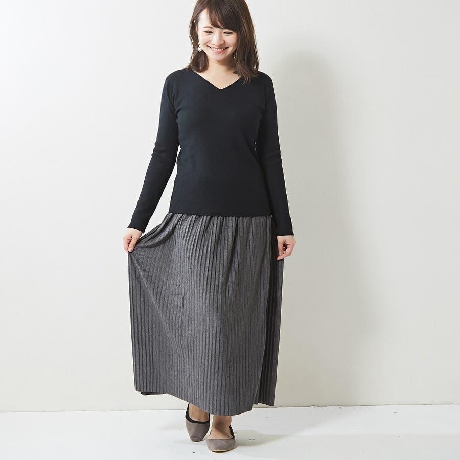 肌触り良く オンオフ使える大人のハイゲージシンプルニット Vネック 韓国 韓国ファッション 秋 秋冬 5