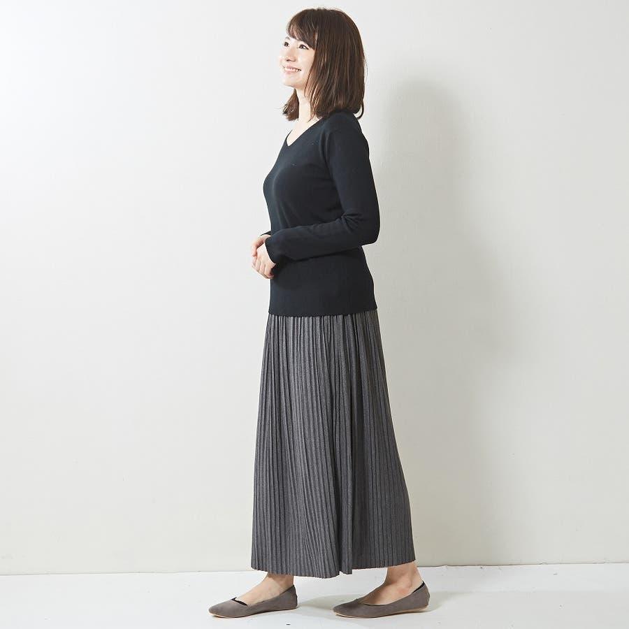 肌触り良く オンオフ使える大人のハイゲージシンプルニット Vネック 韓国 韓国ファッション 秋 秋冬 6