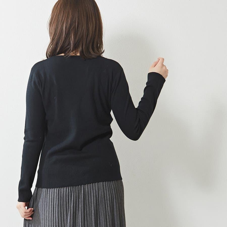 肌触り良く オンオフ使える大人のハイゲージシンプルニット Vネック 韓国 韓国ファッション 秋 秋冬 7