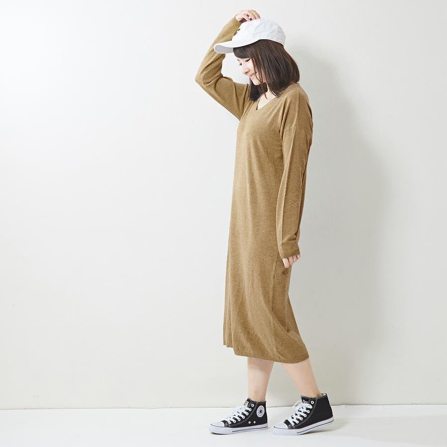 程よく抜け感を出せるニットロングワンピ ニット ワンピース 無地 Vネック 韓国ファッション 韓国 秋 秋冬 29