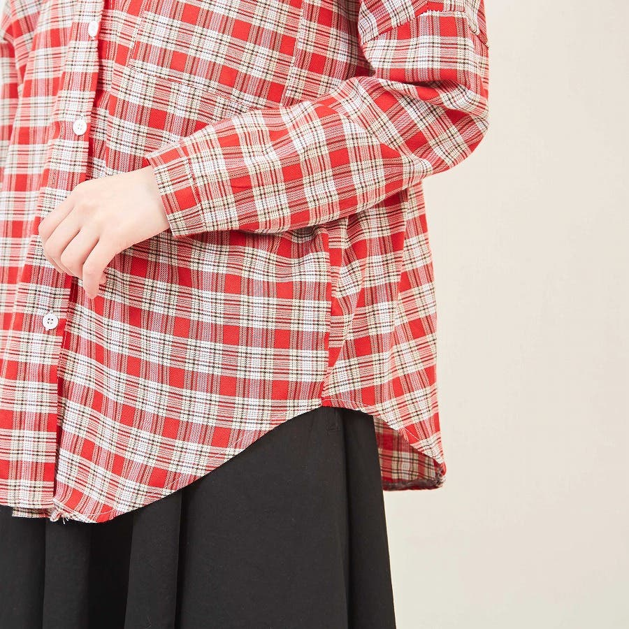 ドロップショルダー チェックシャツ 7