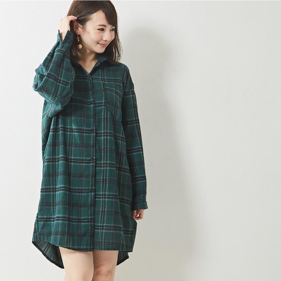 ラフに着こなす チェックシャツ ワンピース チェック ロング シャツ 韓国 韓国ファッション 秋 秋冬