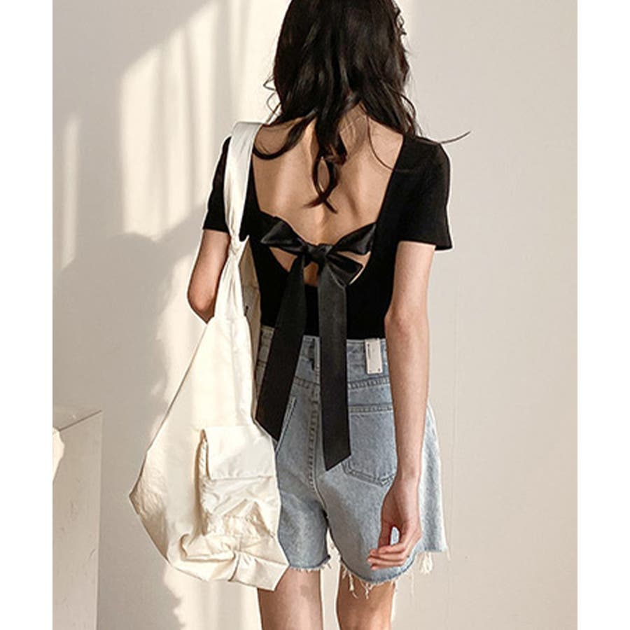カットソー tシャツ レディース 半袖 無地 白 黒 ブラック グレー モカ バックシャン ビッグリボン かわいい カジュアル 通勤 オフィス 21