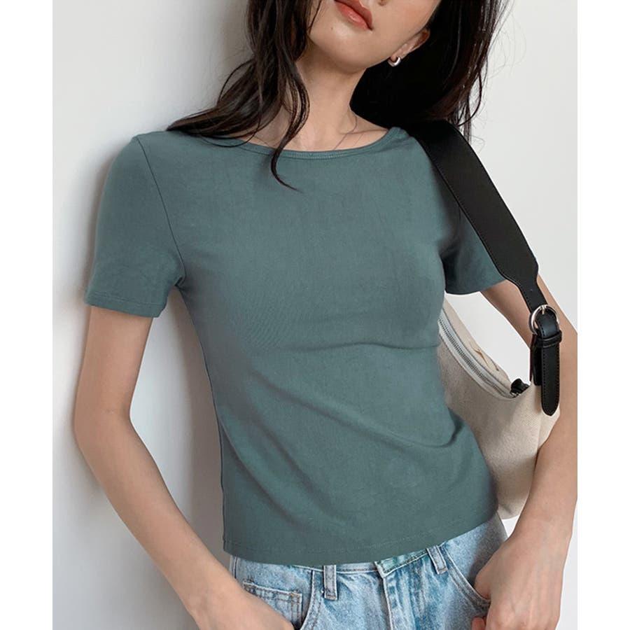 カットソー tシャツ レディース 半袖 無地 白 黒 ブラック グレー モカ バックシャン ビッグリボン かわいい カジュアル 通勤 オフィス 6