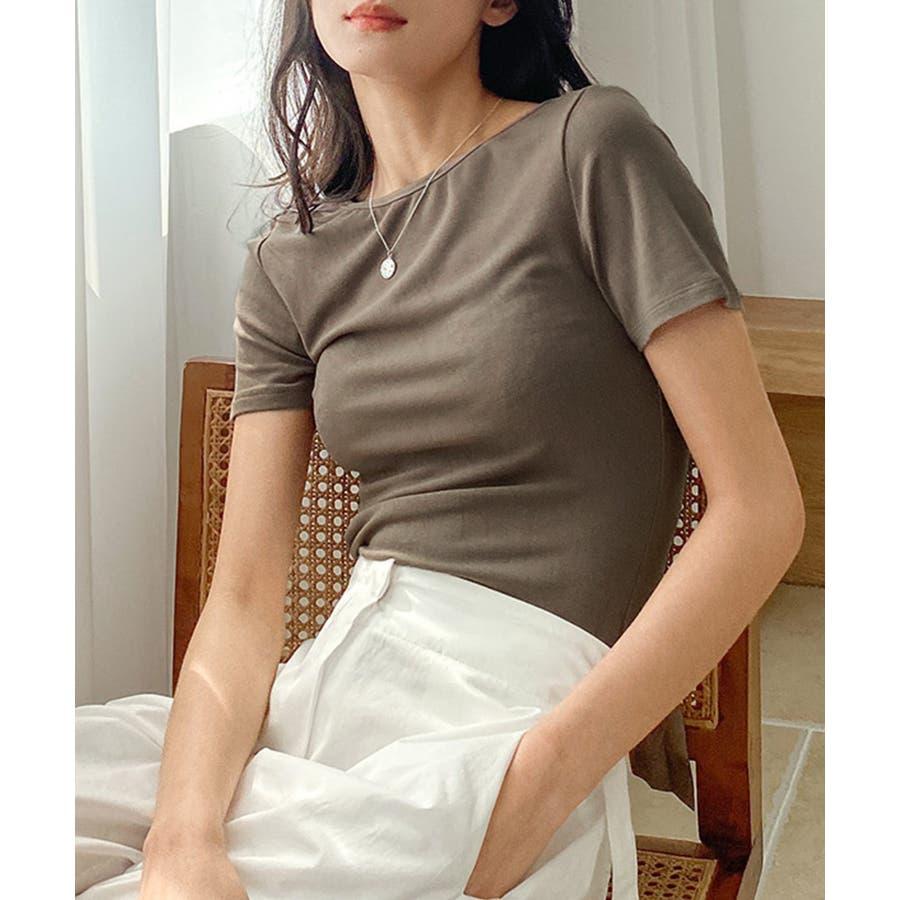 カットソー tシャツ レディース 半袖 無地 白 黒 ブラック グレー モカ バックシャン ビッグリボン かわいい カジュアル 通勤 オフィス 9