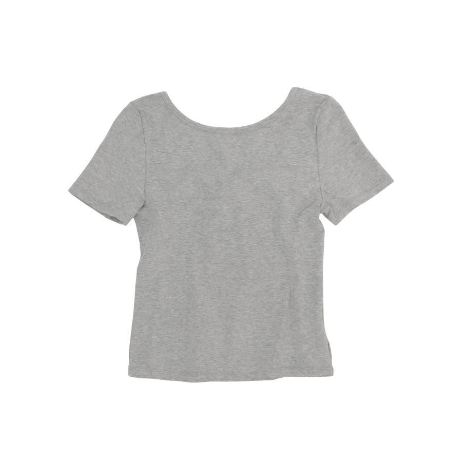 カットソー tシャツ レディース 半袖 無地 白 黒 ブラック グレー モカ バックシャン ビッグリボン かわいい カジュアル 通勤 オフィス 23