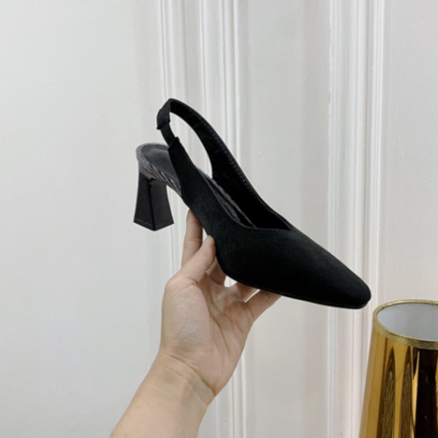 パンプス 靴 シューズ きれいめ ヒール 太ヒール スクエアトゥ レディース 1