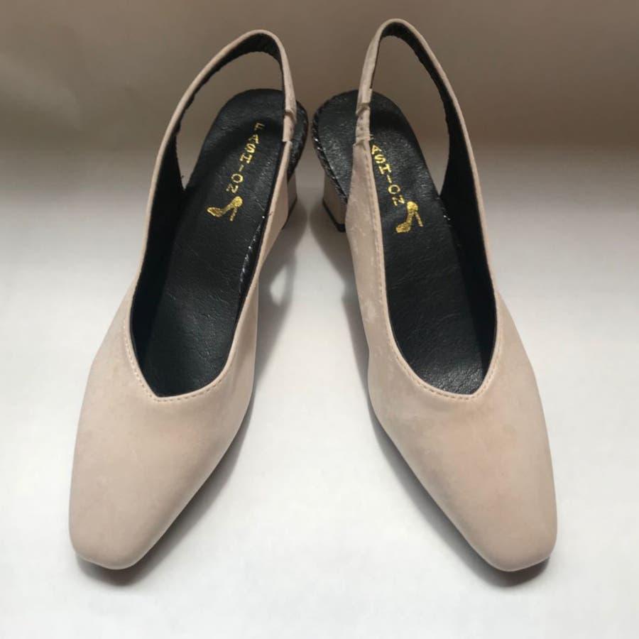 パンプス 靴 シューズ きれいめ ヒール 太ヒール スクエアトゥ レディース 4