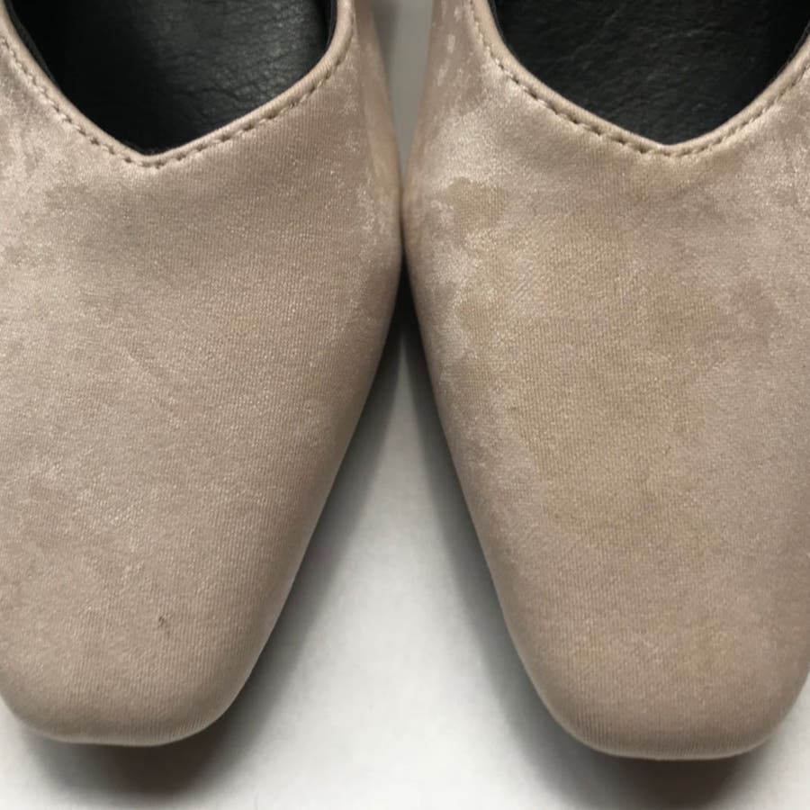 パンプス 靴 シューズ きれいめ ヒール 太ヒール スクエアトゥ レディース 8
