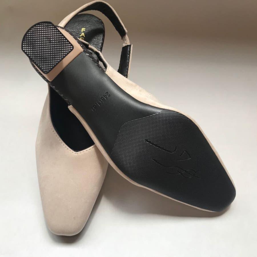 パンプス 靴 シューズ きれいめ ヒール 太ヒール スクエアトゥ レディース 9