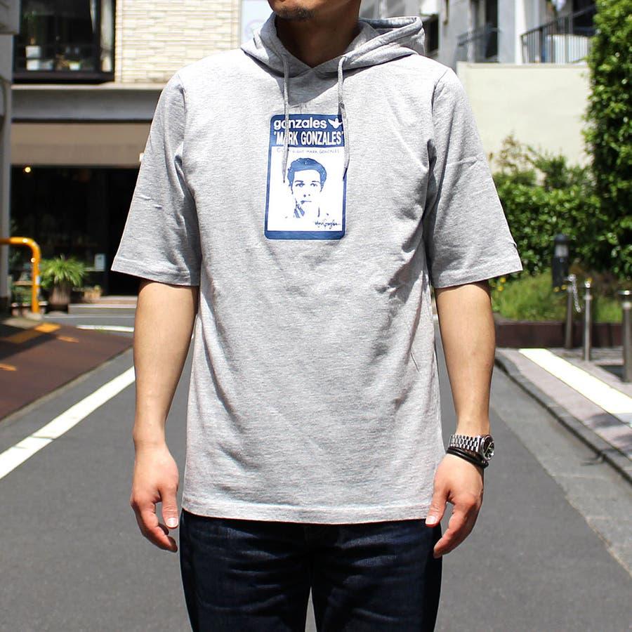おしゃれを楽しめます! Mark Gonzales マークゴンザレス Tシャツ メンズ ゴンズフェイスフード 緯度