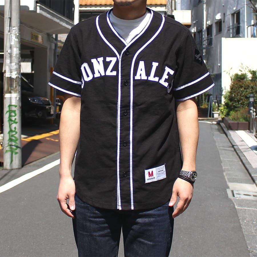 長く使えそう Mark Gonzales マークゴンザレス ベースボールシャツ メンズ 半袖 麦酒