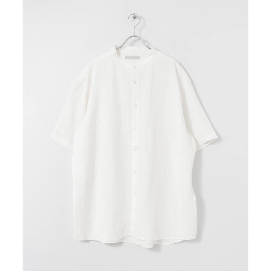 リネンレーヨン バンドカラーシャツ B 2