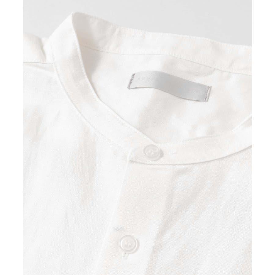 リネンレーヨン バンドカラーシャツ B 3