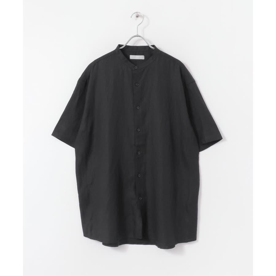 リネンレーヨン バンドカラーシャツ B 4