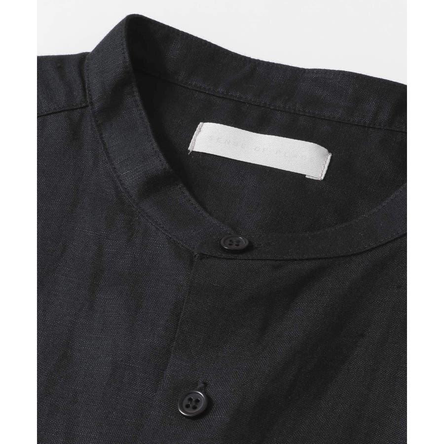 リネンレーヨン バンドカラーシャツ B 5