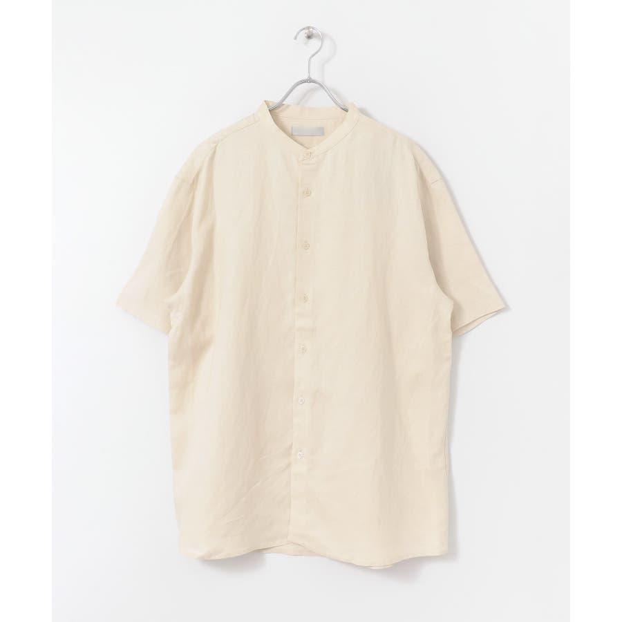 リネンレーヨン バンドカラーシャツ B 6