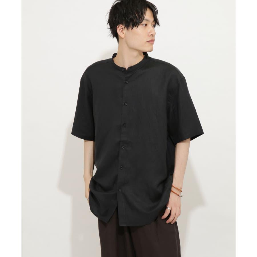 リネンレーヨン バンドカラーシャツ B 21