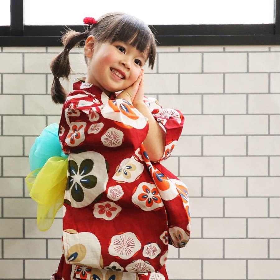 b59102533e532 浴衣 浴衣4点セット 子供 赤のはんなりうめ ひよこ商店 品番 ...
