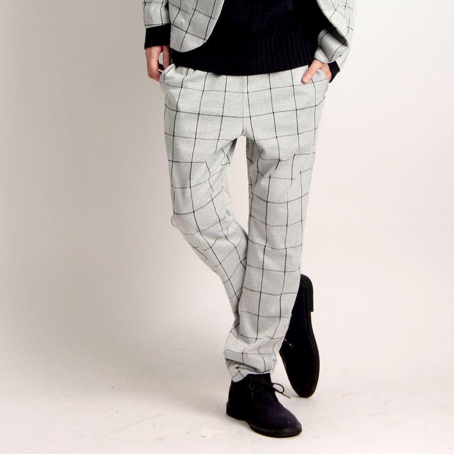爽やかな感じでオッケーですね メンズファッション通販 Valletta 4type カット地ジャガードイージーパンツ 612l2241 ワイドパンツ パンツ ストレッチセットアップスーツ 黒 ブラック ストライプ ウインドーペン メンズ カジュアル ストリート 激流