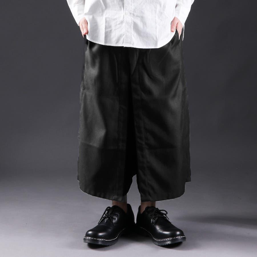 [Valletta]日本製 レイヤードデザイン袴ワイドパンツ[a-726031]ガウチョパンツ パンツ ワイドパンツ スカンツガウチョパンツ ワイド ビッグ サルエルパンツ 国産 黒 ブラック ストリートモード メンズ カジュアル 1