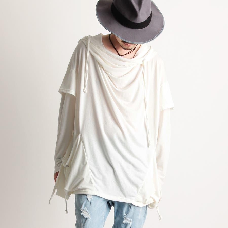 [Valletta]2color ボリュームネックハイネックロングTシャツ[a-426035]国産 ロング丈 ロング 丈長ビッグワイド レイヤード 長袖 黒 ブラック 白 ホワイト 無地 ストリートモード メンズ カジュアル 1