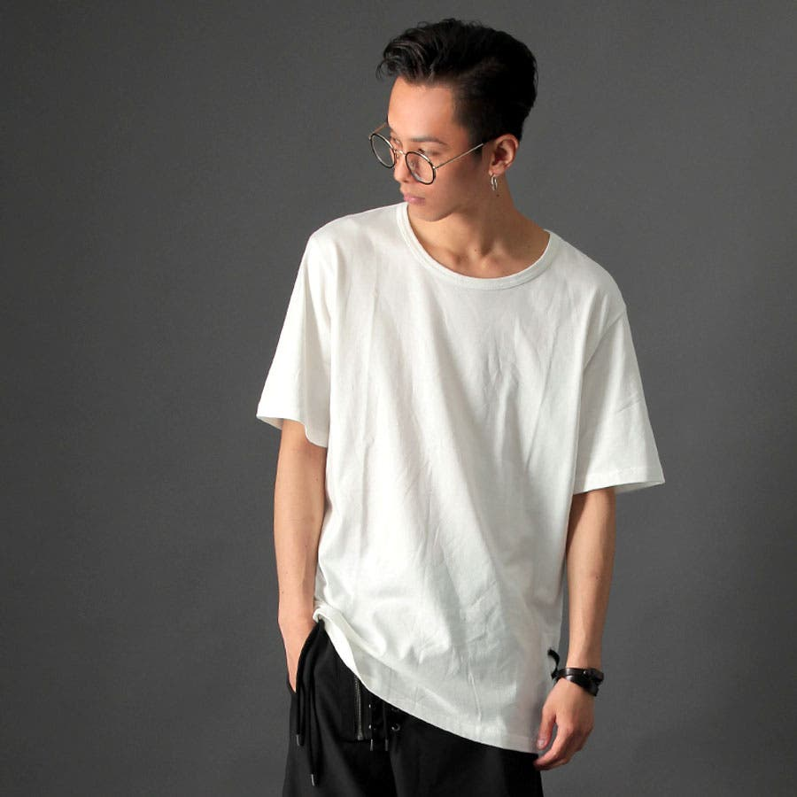 [Valletta]日本製 裾レースアップ使いビッグカットソー[a-426062]日本製 国産 Tシャツ ロング 丈長 ビッグワイドカットソー 半袖 クルーネック 黒 ブラック ホワイト 白 無地 ストリートモード メンズ カジュアル ストリート モード 1
