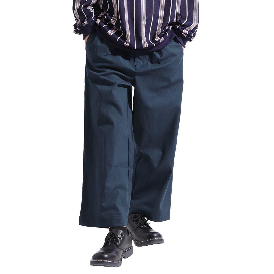 【Valletta】綿麻ワイドパンツ[817-002]ワイドパンツ リネン 麻 コットン ワイド ビッグ ガウチョパンツ バギーパンツスポーツ イージーパンツ パンツ メンズ カジュアルストリート ワーク アメカジ スポーツ モード 1