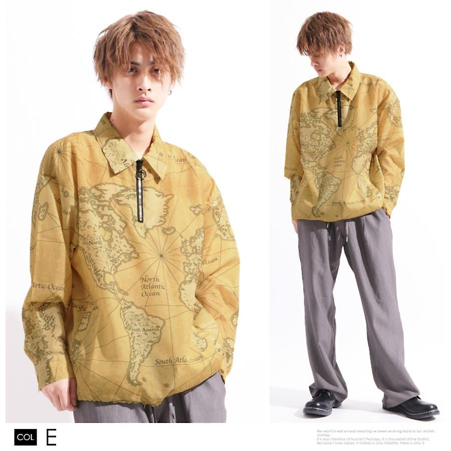 【Valletta】総柄プリントハーフジップジャケット[913-008]シンプル ビッグシャツ ワイドシャツ ブルゾン 長袖 ビッグ ワイド ジャケット メンズ カジュアル ストリート アメカジモード エスニック ネイティブ リゾート 春 夏 秋 4