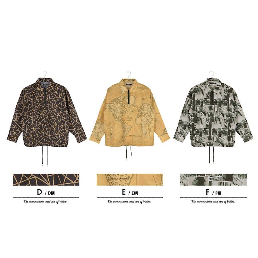 【Valletta】総柄プリントハーフジップジャケット[913-008]シンプル ビッグシャツ ワイドシャツ ブルゾン 長袖 ビッグ ワイド ジャケット メンズ カジュアル ストリート アメカジモード エスニック ネイティブ リゾート 春 夏 秋 7