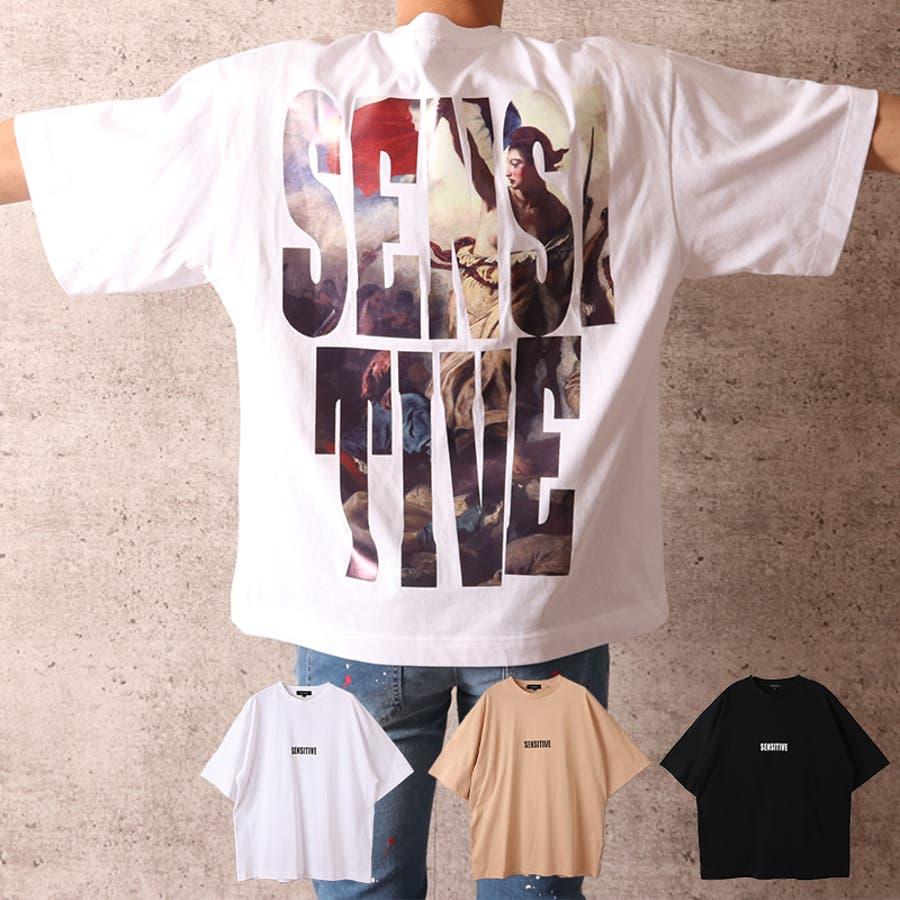 ビッグシルエット プリント Tシャツ メンズ ワイド ビッグサイズ オーバーサイズ Tシャツ バックプリント Tee ストリート 白黒 ロゴT ビッグT ビッグプリント ビッグロゴTシャツ T 夏 ゆったり 大きい ドロップショルダー [22-h764] 1