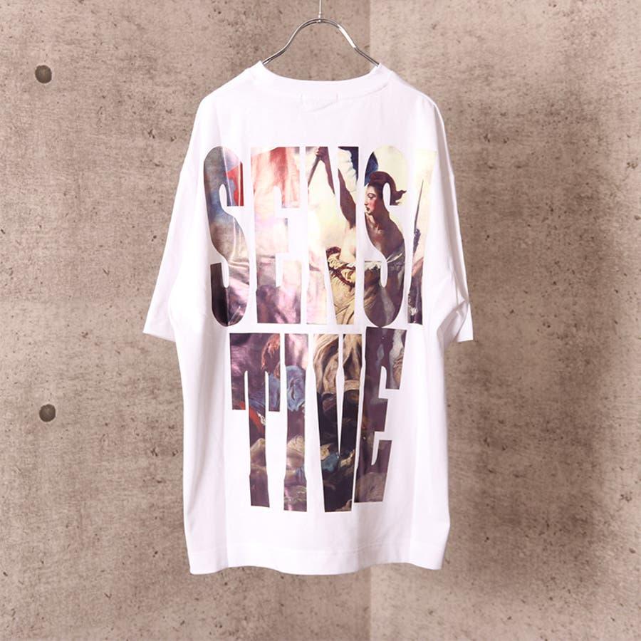 ビッグシルエット プリント Tシャツ メンズ ワイド ビッグサイズ オーバーサイズ Tシャツ バックプリント Tee ストリート 白黒 ロゴT ビッグT ビッグプリント ビッグロゴTシャツ T 夏 ゆったり 大きい ドロップショルダー [22-h764] 3