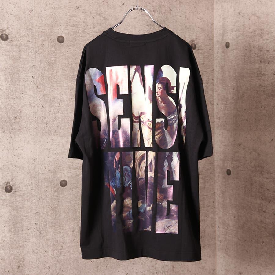 ビッグシルエット プリント Tシャツ メンズ ワイド ビッグサイズ オーバーサイズ Tシャツ バックプリント Tee ストリート 白黒 ロゴT ビッグT ビッグプリント ビッグロゴTシャツ T 夏 ゆったり 大きい ドロップショルダー [22-h764] 5