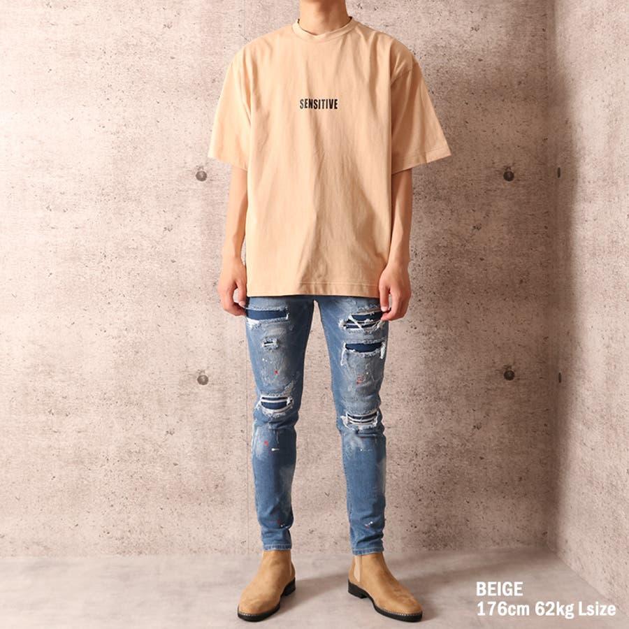ビッグシルエット プリント Tシャツ メンズ ワイド ビッグサイズ オーバーサイズ Tシャツ バックプリント Tee ストリート 白黒 ロゴT ビッグT ビッグプリント ビッグロゴTシャツ T 夏 ゆったり 大きい ドロップショルダー [22-h764] 6