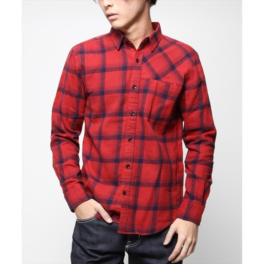 鉄板アイテム メンズファッション通販VANQUISH ヴァンキッシュ ワンポケットチェックネルシャツ VJS2162 レッド 爆麦