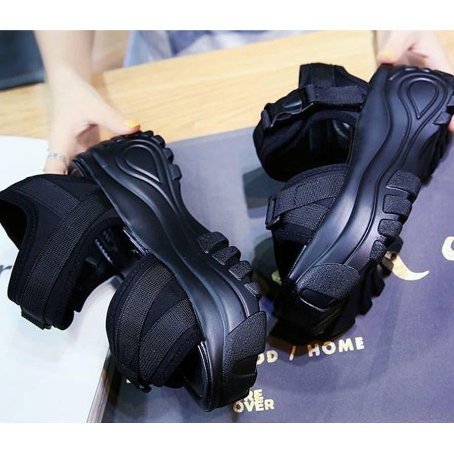 厚底 サンダル レディース スポーツサンダル スポサン プラットフォーム 大人 オープントゥサンダル 歩きやすいシューズ 安定 軽量黒 ブラック 22E50429 7