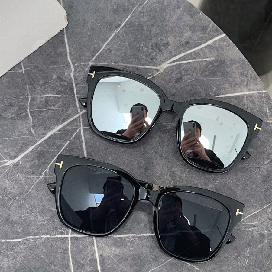 ミラーサングラス ウェリントン ( レディース メンズ ユニセックス) [ビッグフレーム ドライブ 紫外線 人気 トレンド 流行]ブラック 黒 フレーム ゴールド 22R84020 6