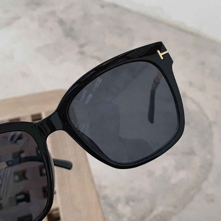 ミラーサングラス ウェリントン ( レディース メンズ ユニセックス) [ビッグフレーム ドライブ 紫外線 人気 トレンド 流行]ブラック 黒 フレーム ゴールド 22R84020 7