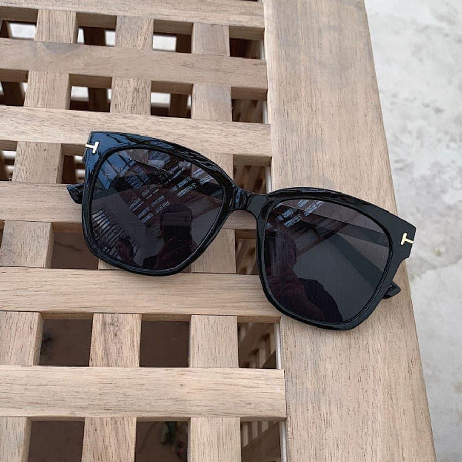 ミラーサングラス ウェリントン ( レディース メンズ ユニセックス) [ビッグフレーム ドライブ 紫外線 人気 トレンド 流行]ブラック 黒 フレーム ゴールド 22R84020 9