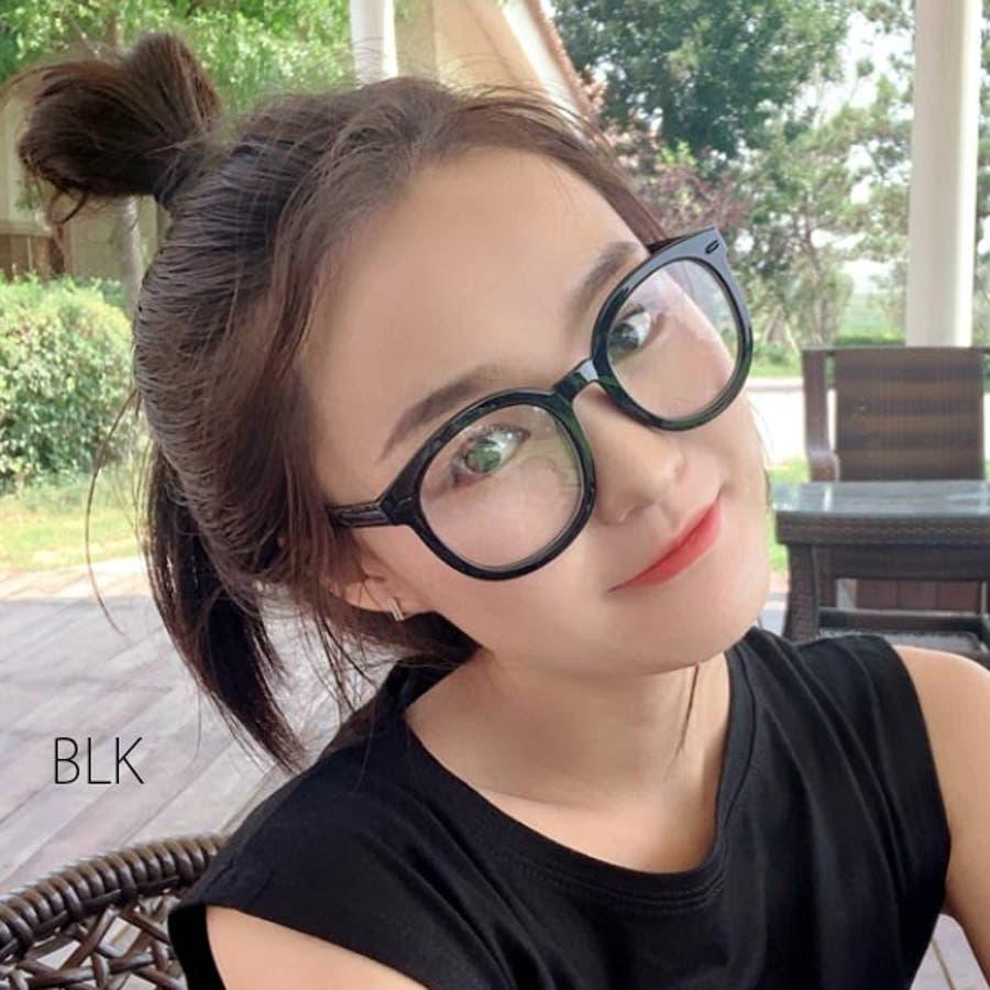 伊達メガネ 伊達めがね レディース ダテメガネ 眼鏡 伊達眼鏡 だてめがね メガネ 黒 ブラック 丸眼鏡 ボストン ラウンド メタル黒ぶち 男女兼用 ユニセックス 22R84215 4