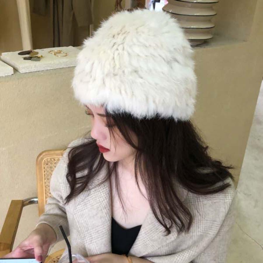 レディース ラビットファー ニット帽 リアルファー 帽子 ニットキャップ ストレッチ 編みこみ 毛皮 ふわふわ ロシアン帽22N219217 7