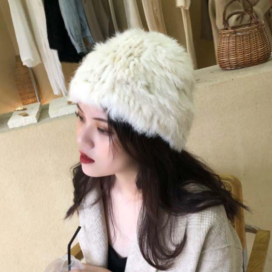 レディース ラビットファー ニット帽 リアルファー 帽子 ニットキャップ ストレッチ 編みこみ 毛皮 ふわふわ ロシアン帽22N219217 9