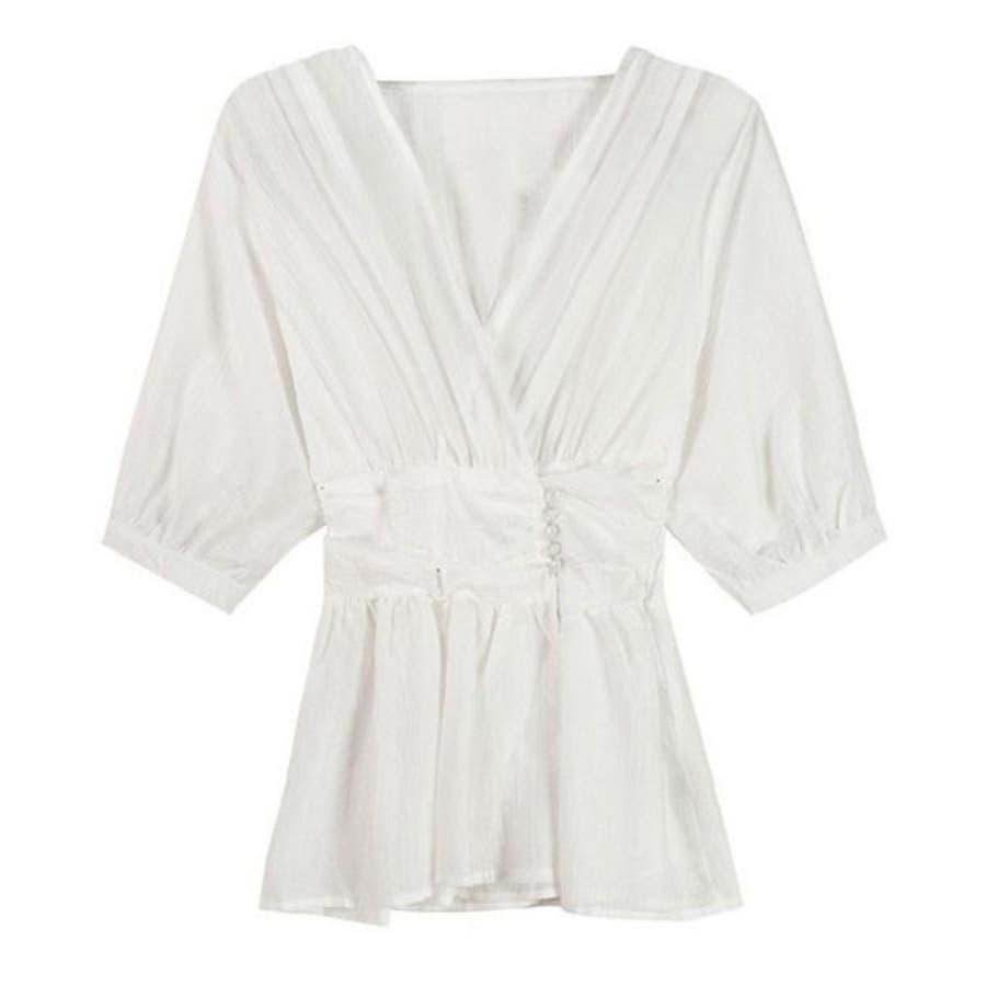 シャツ レディース 白シャツ ゆったり トップス ブラウス フレア インナー付き 薄手 大人 ファッション 黒 ブラック 白ホワイト春 夏 新作 22F64621 16