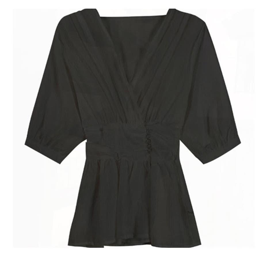 シャツ レディース 白シャツ ゆったり トップス ブラウス フレア インナー付き 薄手 大人 ファッション 黒 ブラック 白ホワイト春 夏 新作 22F64621 21