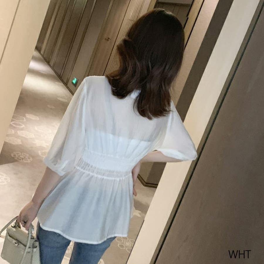 シャツ レディース 白シャツ ゆったり トップス ブラウス フレア インナー付き 薄手 大人 ファッション 黒 ブラック 白ホワイト春 夏 新作 22F64621 6